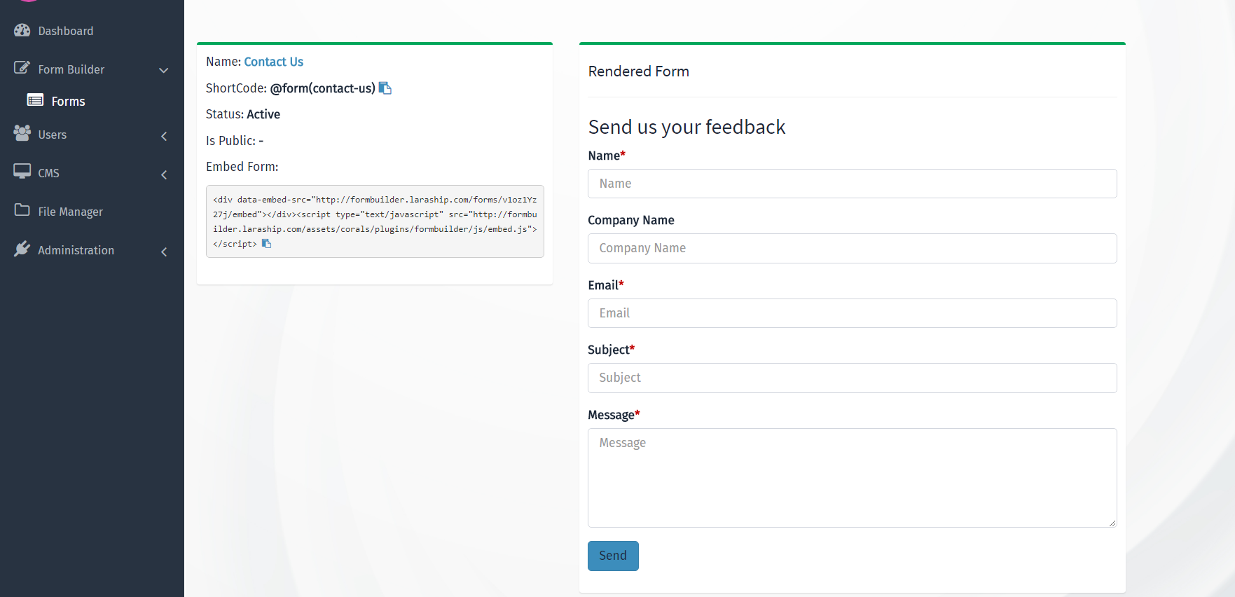 Laravel Form Builder