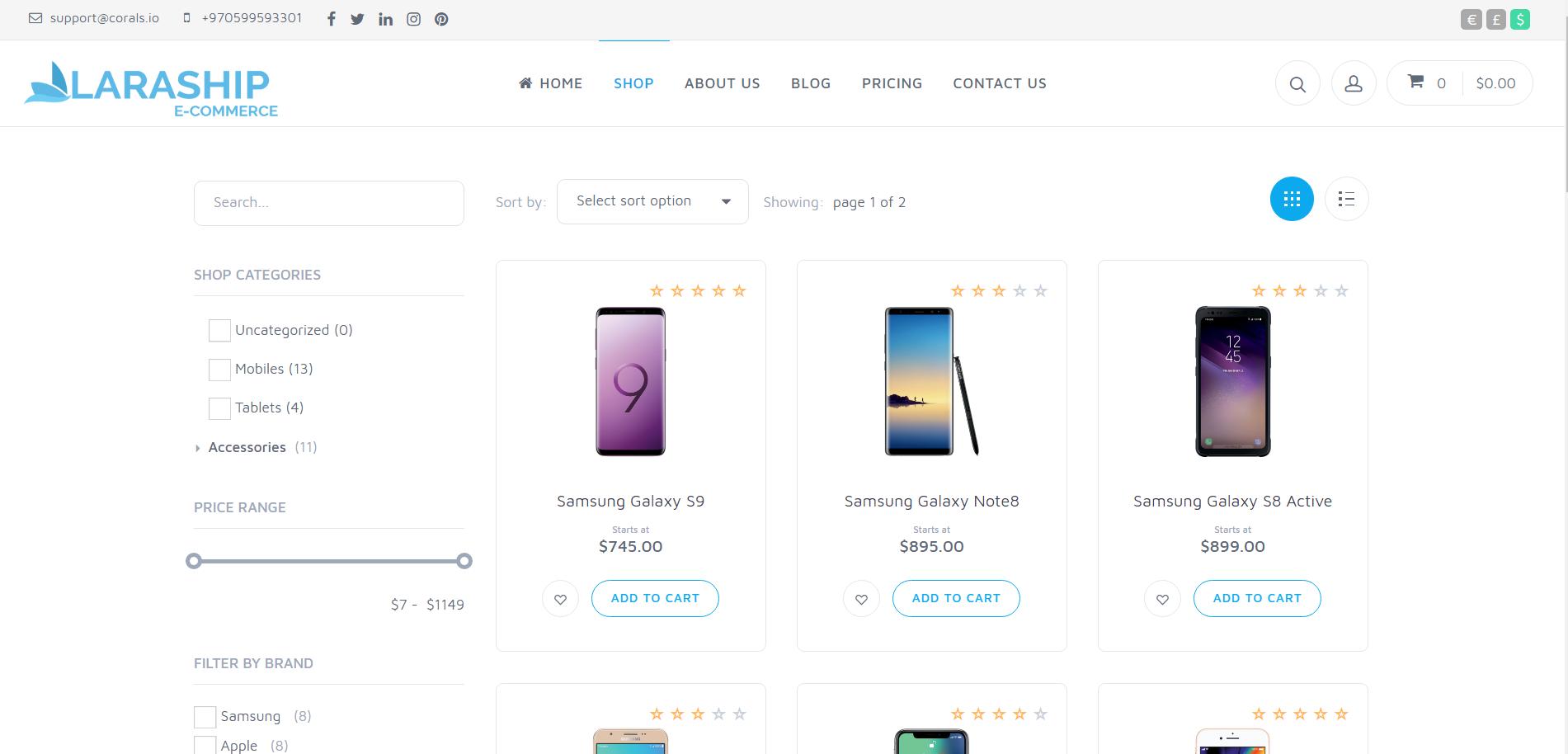 Laraship Laravel Online store shop page