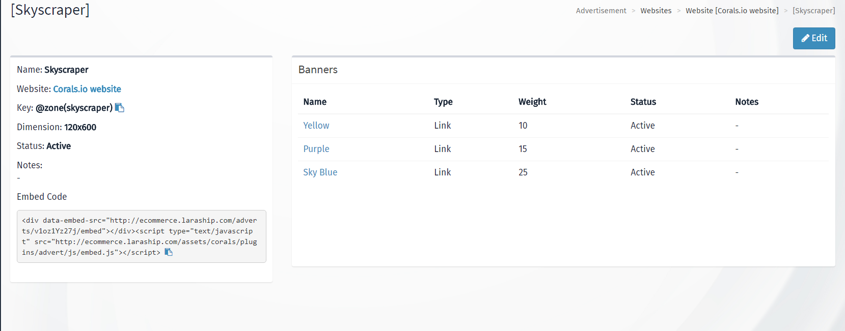 Zones Laravel Advertisement Management module for Laraship