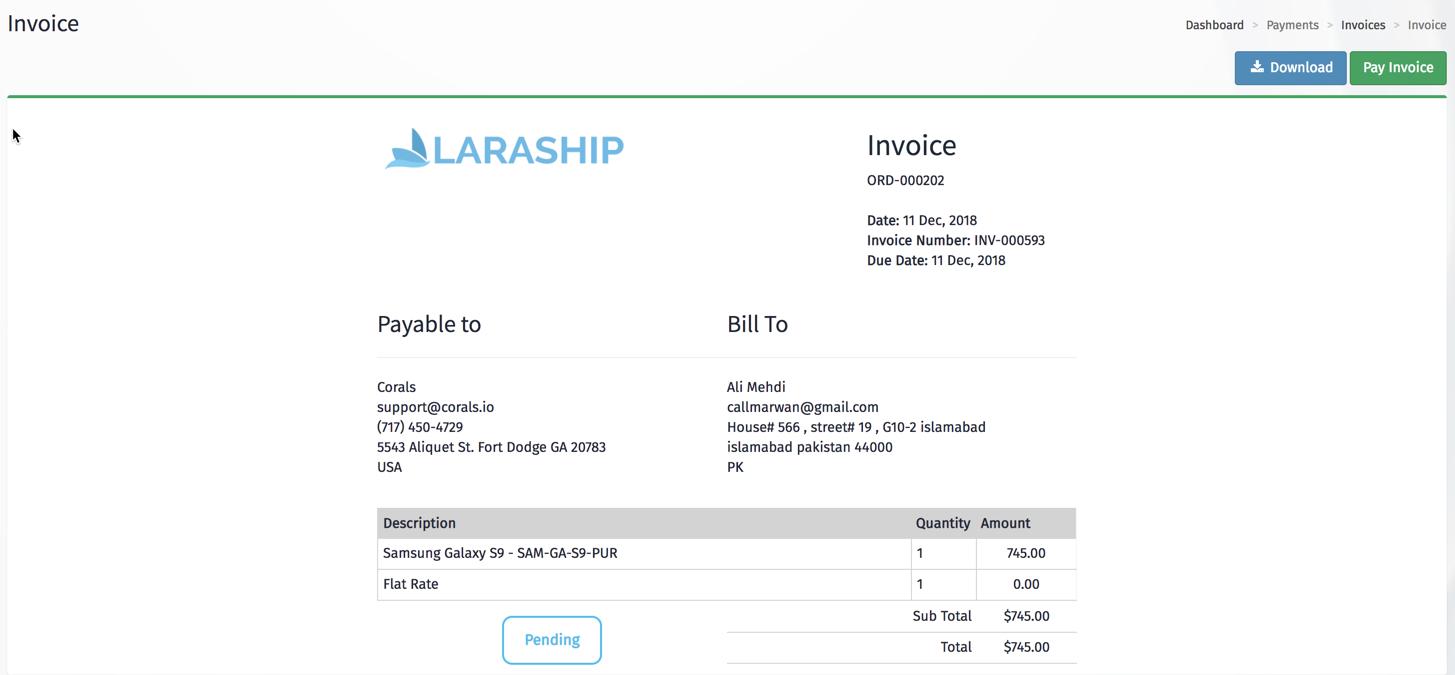 laraship laravel laravel invoicng